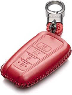Vitodeco Genuine Leather Remote Key Fob Case Cover Protector with Key Chain for 2019 Toyota Corolla Hatchback, Avalon, Camry, Prius, C-HR (4 Buttons with A/C, Red)