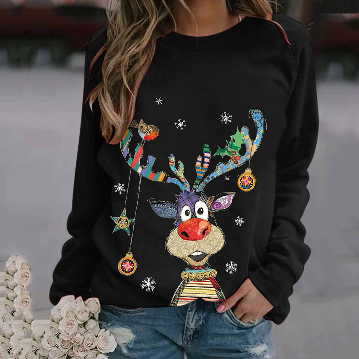 Dylanlla Unisex Ugly Christmas Sweater 3D Printed Funny Crew Neck Pullover Sweatshirts for Xmas Party Celebrations
