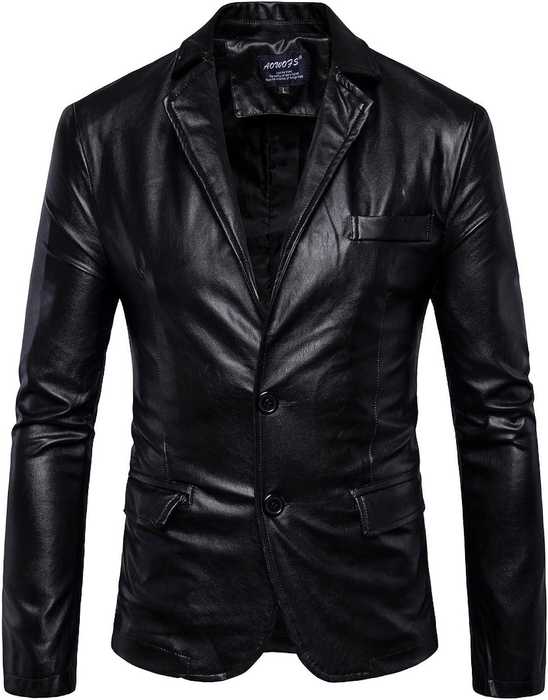 Elonglin Mens Blazer Moto Jacket Faux Leather Motorcycle Biker Jacket Coat Buttoned Classic Collar Keep Warm Autumn Winter