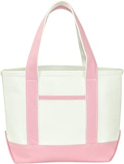 """DALIX 14"""" Mini Small Cotton Canvas Party Favor Wedding Gift Tote Bag in Pink"""