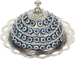 Alisveristime Coated Handmade Brass Sugar Chocolate Candy Bowl Serving Dish with Lid (Evil Eye Silver)