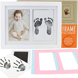 Baby Footprint Kit & Photo Frame - Capture & Display Your Infant's Hand & Footprints - Non-Toxic Inkless XL Pad - Includes 3 Mats & Premium Wood Frame with Glass Front - Baby Hand and Footprint Kit