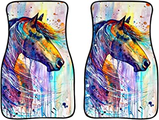 Salabomia Vehicle Floor Mat Waterproof Rubber Car Carpet Watercolor Horse Pattern Durable Rug All Weather Car Mat Easy Clean Non Slip Wear Resistant Heel Pad for Protection