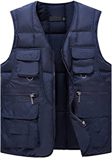 Yeokou Men's Winter Outdoor Quilted Cotton Padded Puffer Cargo Vest Multi Pocket