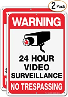 Video Surveillance Sign, No Trespassing Metal Reflective Warning Sign - 2 Pack - 10 x 7 Inches .040 Aluminum - 6 Pre-drilled Holes - UV Protected, Waterproof, and Fade Resistant