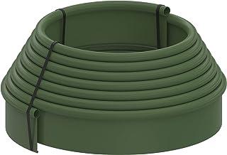 Kit bordura jardín rollo 10 metros color verde-oscuro con piquetas