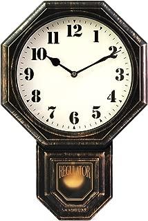 "Signature Dark Iron Antique Pendulum Wall Clock, Simulate Metallic Vintage Texture, Non Ticking Silent Sweep Quartz Movement, 11.4"" x 17"" x 2.4"", Retro Classic Style, Plastic Frame with ABS Glass."