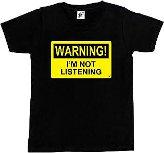 Fancy A Snuggle Warning I'm Not Listening Kids Boys/Girls T-Shirt