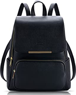 Coofit Black Leather Backpack for Girls Schoolbag Casual Daypack