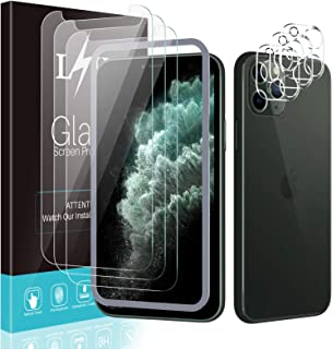 [3+3 Pack] LϟK for 3 Pack iPhone 11 Pro Max Screen Protector with 3 Pack Camera Lens Protector, 6.5 inch [Tempered Glass]...