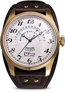 Vintage Boston Gold & White Watch - Wide Cuff Style Brown Leather Strap - Day & Retrograde Date Features - White Textured Dial