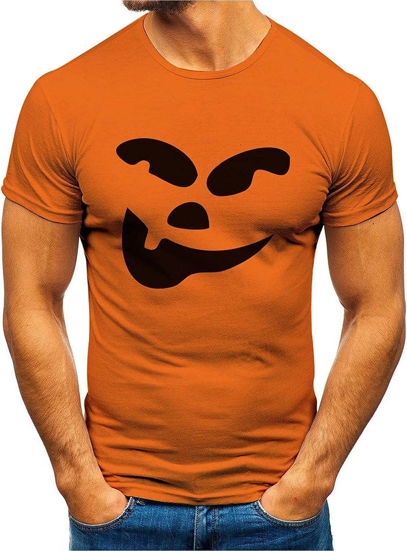 Halloween T-Shirt Funny Pumpkin Evil Smile Face Print Tops Short Sleeve Shirt Fun Graphic Unisex Top for Men Women B