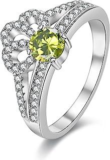 Uloveido Women's White Gold Plated Diamond Cut Round Cubic Zirconia Princess Crown Promise Wedding Rings (Yellow, Pink, Blue, Multi, Purple, Size 6 7 8 9) Y2735