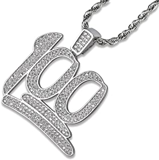Hip Hop Iced Out 100 Pendant Necklace with 24