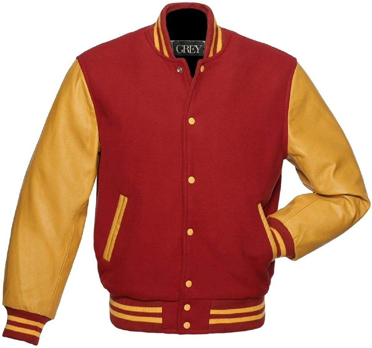 GREY Brand Varsity Jacket, Wool Body with Leather Arms Letterman Baseball Unique & Stylish (7XL) (M, Red Yellow-Gold)