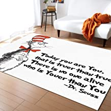 Modern Collection Area Rugs for Bedroom Living Room FreeHand The Cat in the Hat Dr. Seuss Area Rug 4x6 Feet Rectangle Runner Rug Carpet for Kids Nursery Decorative Floor Rugs Contemporary Large Rug
