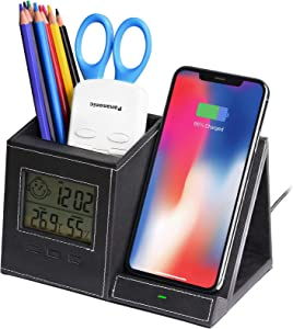 Wireless Charger,Desk Organizer Pencil Pen Holder,Digital Clock,Pen Holder Charger,Compatible Phone 12 Pro Mini 11 X XS MAX XR 8 Plus and Samsung S7 Edge S8 S9 Plus,Desk Organization for Home, Office