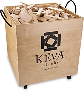KEVA Maple 1,000 Plank Classroom Set with Wood Roller Bin