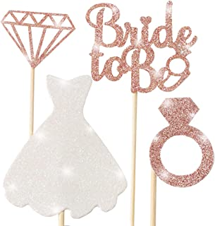 Bridal Shower Cupcake Topper, Sparkling Glitter Rose Gold Bride To Be, Diamond Ring, Wedding Dress Cupcake Toppers for Eng...