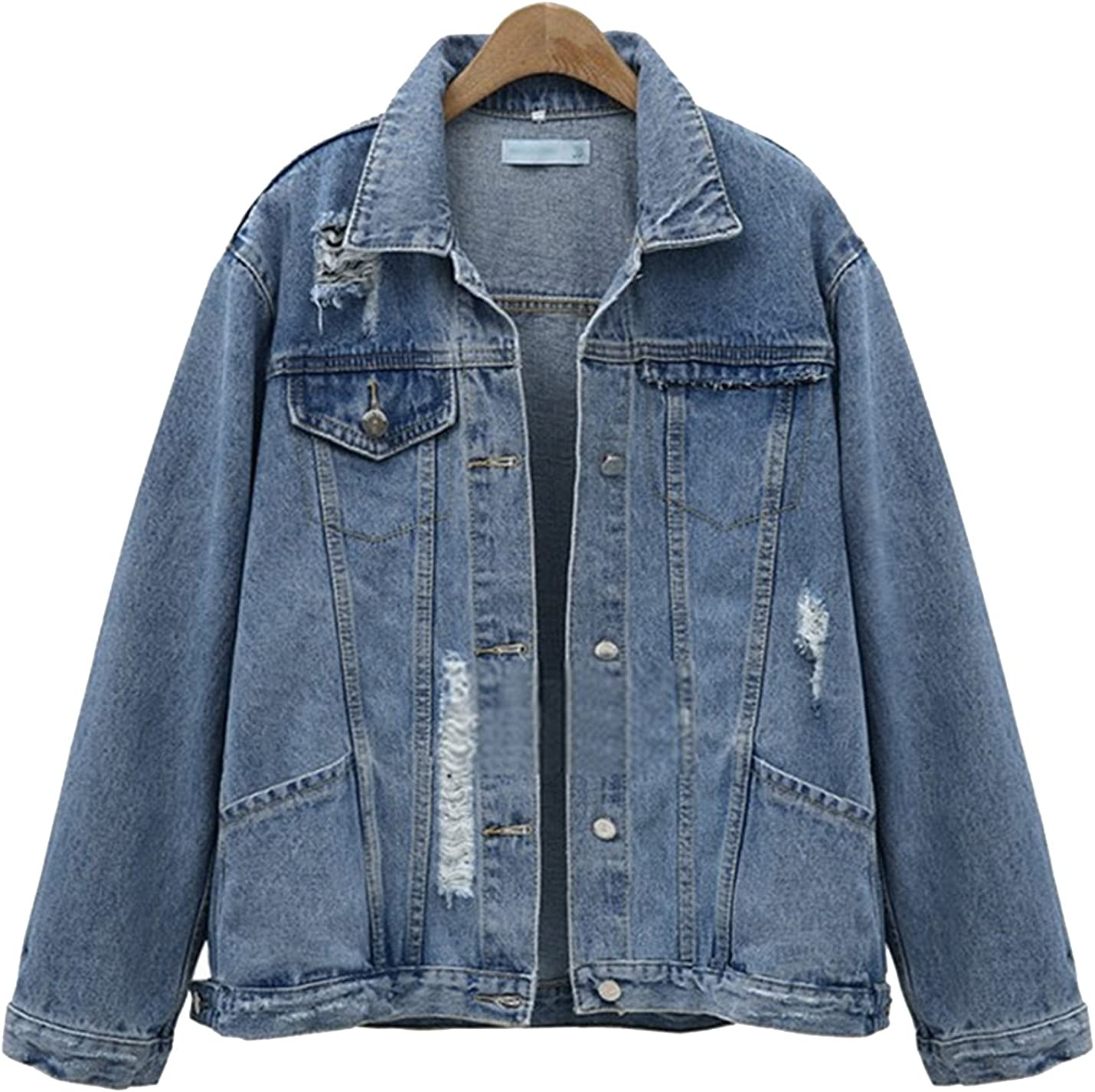 Flygo Women's Casual Loose Boyfriend BF Ripped Jean Denim Trucker Jacket Coat