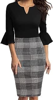 Womens Flounce Bell Sleeve Office Work Casual Pencil Dress
