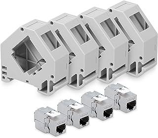 kwmobile 4X Module Keystone RJ45 Cat 6a - Modules de Brassage pour Branchement Câble RJ45 - Connecteur Blindé avec Support...