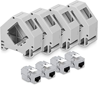 kwmobile 4X Module Keystone RJ45 Cat 6a - Modules de Brassage pour Branchement Câble RJ45 - Connecteur Blindé avec Support...