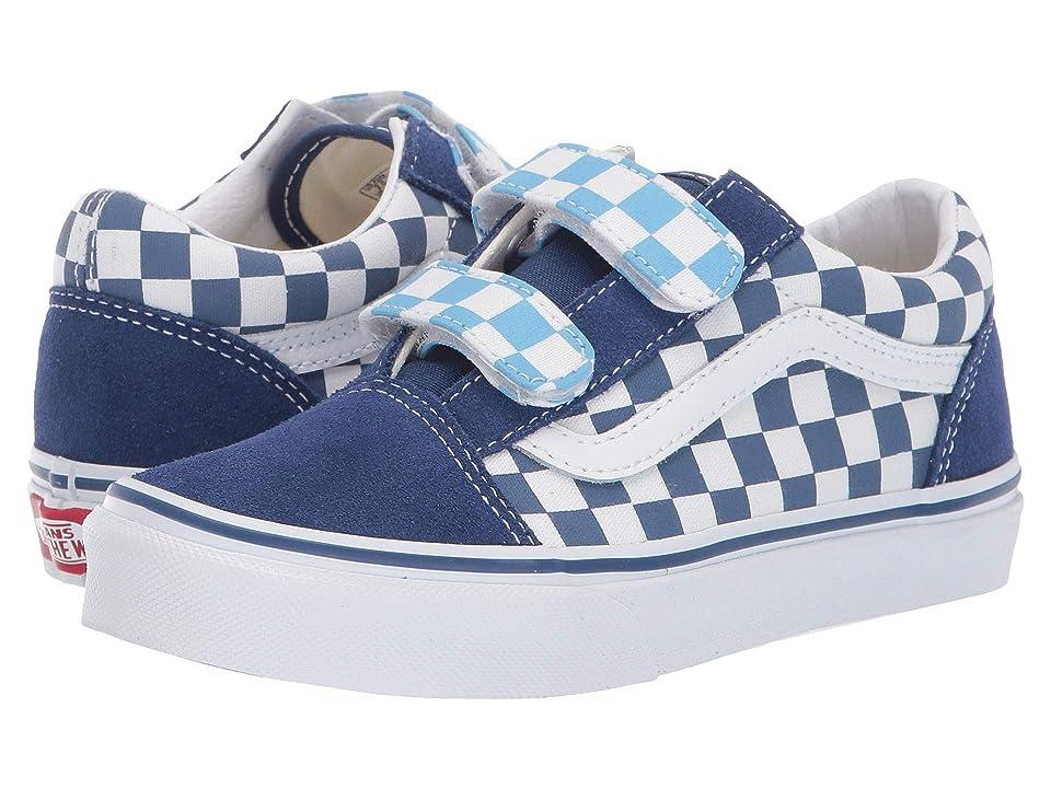 Vans Kids Old Skool V (Little Kid/Big Kid) ((Checkerboard) True Navy/Bonnie Blue) Boys Shoes