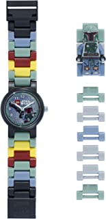 LEGO Star Wars 8020448 Boba Fett Kids Buildable Watch with Link Bracelet and Minifigure green/gray plastic 25mm case diameter analogue quartz boy girl official