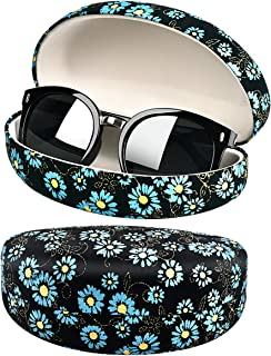 Flower Plant Chrysanthemum Sunglasses Case, Oversized Shell Eyeglasses Clam Shell Reading Glass Holder Storage Box
