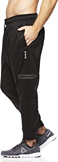 Reebok Men's Jogger Running Pants with Zipper Pockets - Athletic Workout Sweatpants