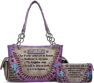 Embroidered Bible Verse Tooled Leather Concealed Carry Purse Totes Women Handbag Shoulder Bag Wallet Set