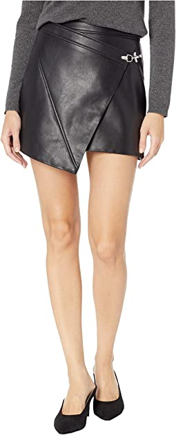 Black Vegan Leather Latch Detail Skirt in Latch On