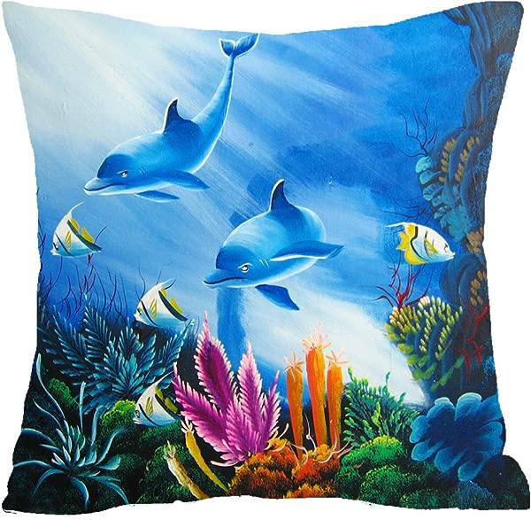 Blue Ocean Animal Dolphin Seaweed Coral Aquarium Cotton Linen Square Throw Waist Pillow Case Decorative Cushion Cover Pillowcase Sofa 18 X 18 18x18 Inches 1