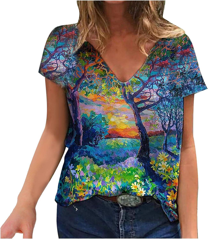 Womens T-Shirt Tie Dye Summer Painting Print Tees V-Neck Short Sleeve Tops Teen Girls Blouse Shirts Casual Tee Tops