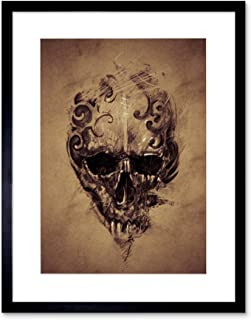 The Art Stop Painting Drawing Tattoo Creepy Skull Gothic Grunge Framed Print F12X4591