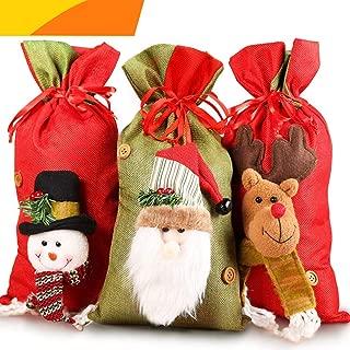 Jolik Santa Sacks Drawstring Christmas Gift Bags, 3D Design Fabric Christmas Bags for Christmas Party Supplies, 15 x 8 inch