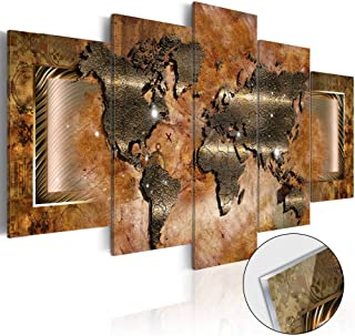 Large Steel World Map Wall Art Canvas Print Painting 5 Panel Modern Abstract Artwork