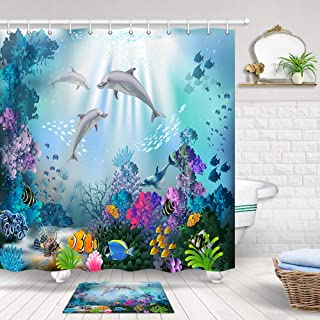 JAWO Dolphin Shower Curtain Set, Blue Ocean Underwater Fish Coral Reef Decorations for Kids Adults Bathroom Curtain Set, Bathroom Curtains 72X72 Inches, Indoor Floor Flannel Mat Bath Rugs 60x40cm
