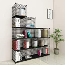 JOISCOPE Bookshelf with Multi-function Space-saving 16 Cubes Black Metal Organizer Wire Shelves Cubes Storage Portable Sto...