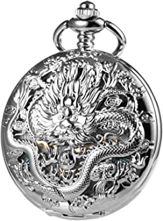 TREEWETO Mens Womens Antique Skeleton Mechanical Pocket Watch Silver 3D Dragon Case with Chain Box