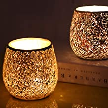 OSALADI Mosaic Glass Candle Holder Votive Candle Holder Tealight Cup Decorative Candlestand Table Ornament for Anniversiry...