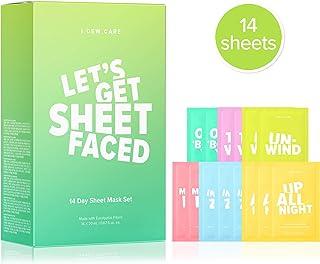 مراقبت می کنم بیایید برگه ای روبرو شویم | مجموعه ای از 14 ماسک برگه | مراقبت از پوست کره ای ، درمان های صورت ، بی رحمی ، بدون پارابن