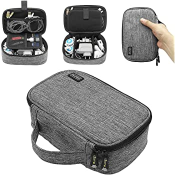 Sisma Travel Cords Organizer Universal Small Electronic Accessories Carrying Bag for Cables Adapter USB Sticks Leads Memory Cards, Grey 1680D-Fabrics SCB17092B-OG