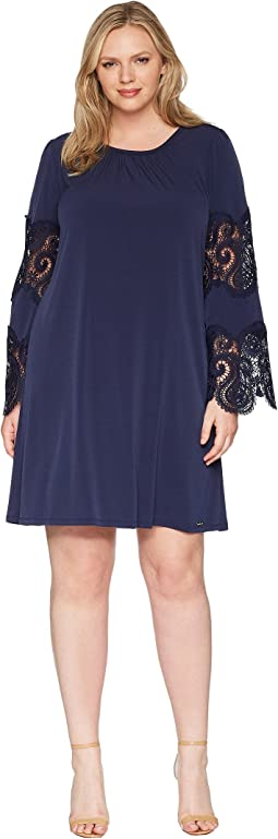 Plus Size Lace Inset Sheer Dress