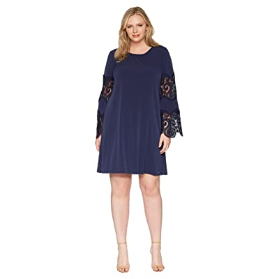MICHAEL Michael Kors Plus Size Lace Inset Sheer Dress (True Navy) Women