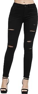 Women's Juniors Skinny Jeans Mid-Rise Distressed Slim Fit Stretchy Jegging Denim Pants
