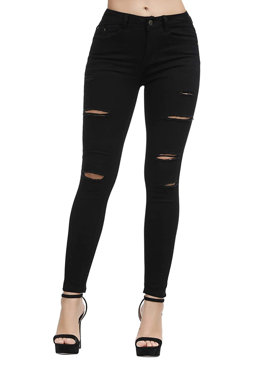 Women's Juniors Mid-Rise Distressed Slim Fit Stretchy Skinny Jeans Jegging fhrkebvd824
