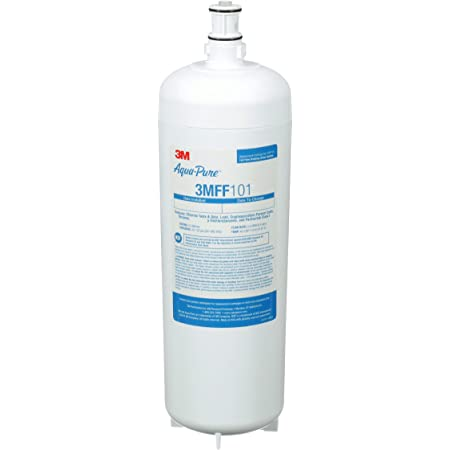 3M Aqua-Pure Under Sink Full Flow Drinking Replacement Water Filter 3MFF101, For Aqua-Pure System 3MFF100,Sanitary Quick Change, Reduces Particulates, Chlorine Taste and Odor, Cysts, Lead, Select VOCs, Model:70020249663, White