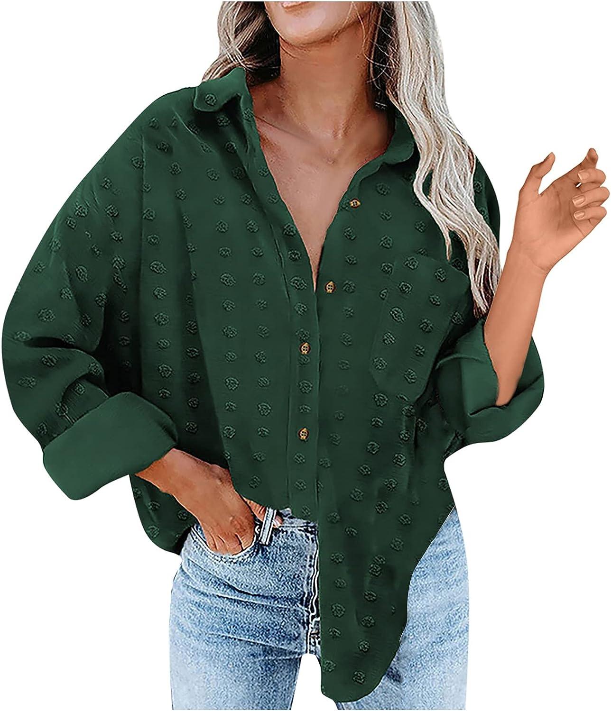 Women Dots Chiffon Blouses Bat Long sleeve Casual Crewneck Pompom Shirts Loose Button Top Office Work Blouse